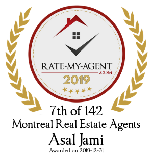 Top Rated Montreal Real Estate Agent Badge for Asal Jami verified on 2020-02-24 by Rate-My-Agent.com