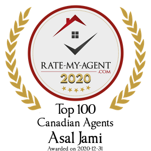 Top 100 Canadian Agent Badge for Asal Jami verified on 2021-01-08 by Rate-My-Agent.com
