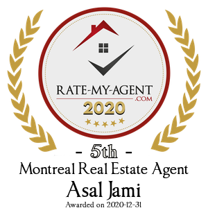 Top Rated Montreal Real Estate Agent Badge for Asal Jami verified on 2021-01-08 by Rate-My-Agent.com