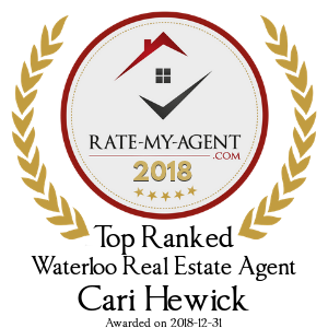 Top Rated Waterloo Real Estate Agent Badge for Cari Hewick verified on 2018-12-20 by Rate-My-Agent.com