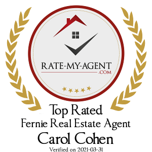 Top Rated Fernie Real Estate Agent Badge for Carol Cohen verified on 2019-03-13 by Rate-My-Agent.com