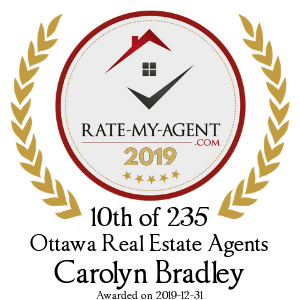 Top Rated Ottawa Real Estate Agent Badge for Carolyn Bradley verified on 2020-01-08 by Rate-My-Agent.com