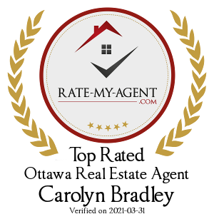 Top Rated Ottawa Real Estate Agent Badge for Carolyn Bradley verified on 2019-03-14 by Rate-My-Agent.com