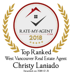 Top Rated West Vancouver Real Estate Agent Badge for Christy Laniado verified on 2018-12-20 by Rate-My-Agent.com
