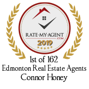 Top Rated Edmonton Real Estate Agent Badge for Connor  Honey verified on 2020-02-24 by Rate-My-Agent.com
