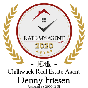 Top Rated Chilliwack Real Estate Agent Badge for Denny Friesen verified on 2021-01-08 by Rate-My-Agent.com