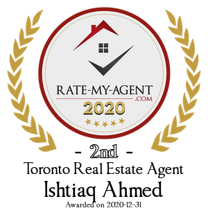 Top Rated Toronto Real Estate Agent Badge for Ishtiaq Ahmed verified on 2021-01-08 by Rate-My-Agent.com