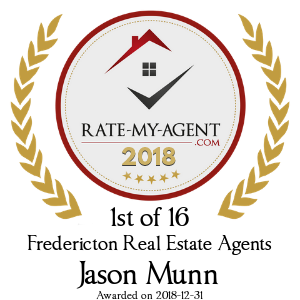 Top Rated Fredericton Real Estate Agent Badge for Jason Munn verified on 2018-12-20 by Rate-My-Agent.com