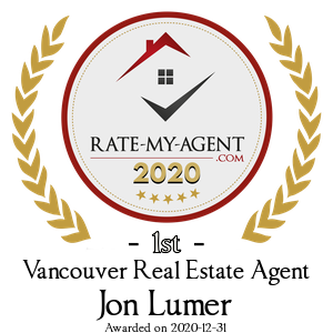 Top Rated Vancouver Real Estate Agent Badge for Jon Lumer verified on 2021-01-08 by Rate-My-Agent.com