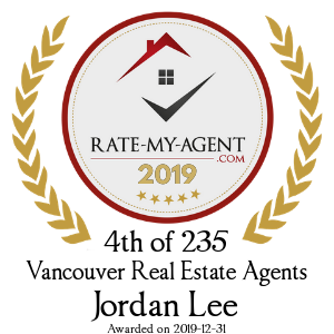Top Rated Vancouver Real Estate Agent Badge for Jordan Lee verified on 2020-01-08 by Rate-My-Agent.com