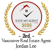 Top Rated Vancouver Real Estate Agent Badge for Jordan Lee verified on 2021-01-08 by Rate-My-Agent.com