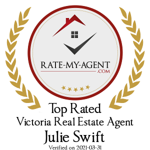 Top Rated Victoria Real Estate Agent Badge for Julie Swift verified on 2019-02-06 by Rate-My-Agent.com