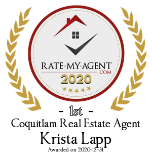 Top Rated Coquitlam Real Estate Agent Badge for Krista Lapp verified on 2021-01-19 by Rate-My-Agent.com