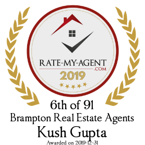 Top Rated Brampton Real Estate Agent Badge for Kush Gupta verified on 2020-01-08 by Rate-My-Agent.com