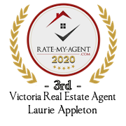 Top Rated Victoria Real Estate Agent Badge for Laurie Appleton verified on 2021-01-08 by Rate-My-Agent.com