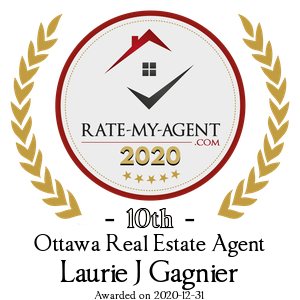 Top Rated Ottawa Real Estate Agent Badge for Laurie J Gagnier verified on 2021-01-19 by Rate-My-Agent.com
