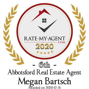Top Rated Abbotsford Real Estate Agent Badge for Megan Bartsch verified on 2021-01-08 by Rate-My-Agent.com