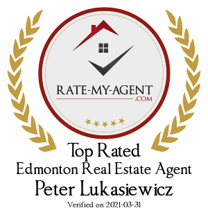 Top Rated Edmonton Real Estate Agent Badge for Peter Lukasiewicz verified on 2018-12-20 by Rate-My-Agent.com