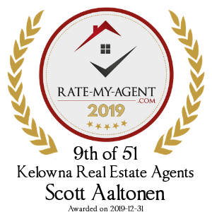 Top Rated Kelowna Real Estate Agent Badge for Scott Aaltonen verified on 2020-01-08 by Rate-My-Agent.com