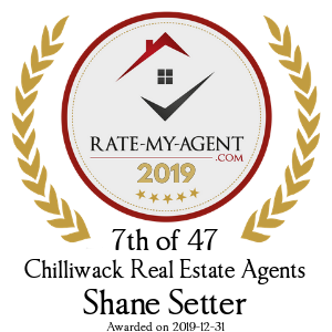 Top Rated Chilliwack Real Estate Agent Badge for Shane  Setter verified on 2020-02-24 by Rate-My-Agent.com