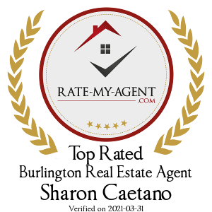 Top Rated Burlington Real Estate Agent Badge for Sharon Caetano verified on 2019-01-25 by Rate-My-Agent.com