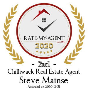 Top Rated Chilliwack Real Estate Agent Badge for Steve Mainse verified on 2021-01-08 by Rate-My-Agent.com