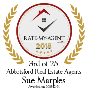 Top Rated Abbotsford Real Estate Agent Badge for Sue Marples verified on 2018-12-20 by Rate-My-Agent.com