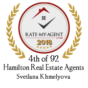 Top Rated Hamilton Real Estate Agent Badge for Svetlana Khmelyova verified on 2020-02-24 by Rate-My-Agent.com