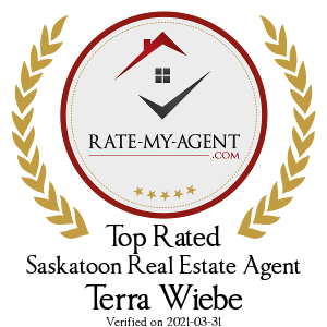 Top Rated Saskatoon Real Estate Agent Badge for Terra Wiebe verified on 2018-12-20 by Rate-My-Agent.com