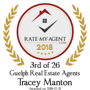Top Rated Guelph Real Estate Agent Badge for Tracey Manton verified on 2018-12-20 by Rate-My-Agent.com