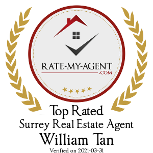Top Rated Surrey Real Estate Agent Badge for William Tan verified on 2019-04-19 by Rate-My-Agent.com
